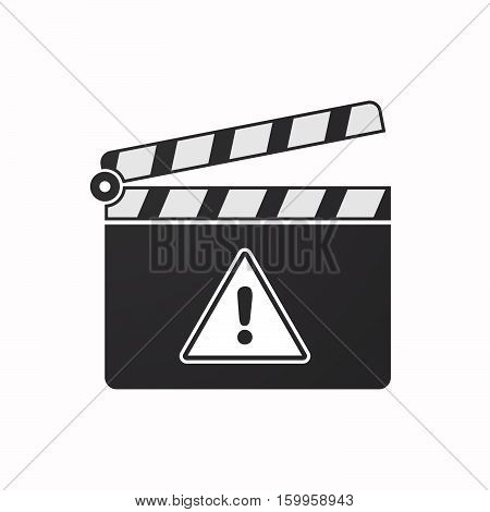 Isolated Clapper Board With A Warning Signal