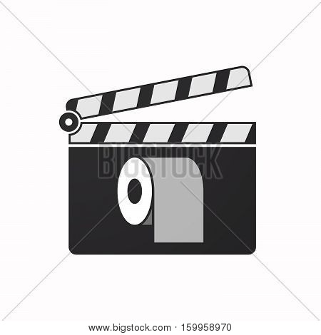 Isolated Clapper Board With A Toilet Paper Roll
