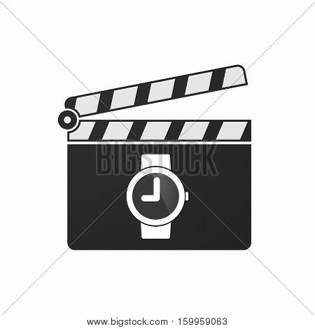 Isolated Clapper Board With A Wrist Watch