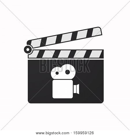 Isolated Clapper Board With A Film Camera