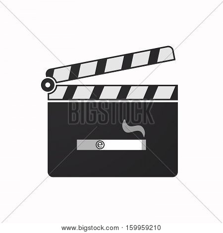 Isolated Clapper Board With An Electronic Cigarette