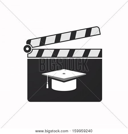 Isolated Clapper Board With A Graduation Cap