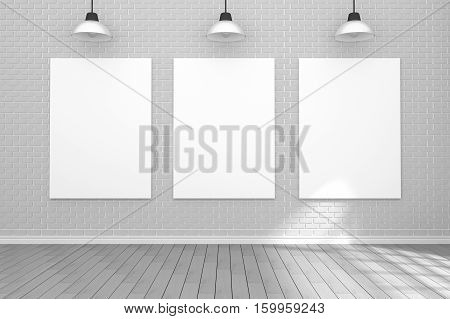 3D Rendering : Illustration Of White Poster Hanging On The Wall In Empty Room.space For Your Text An