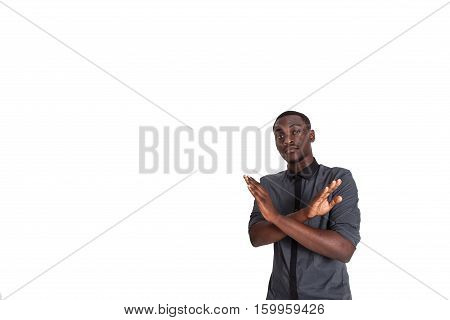 Man shows hand stop sign. Isolated on white background.