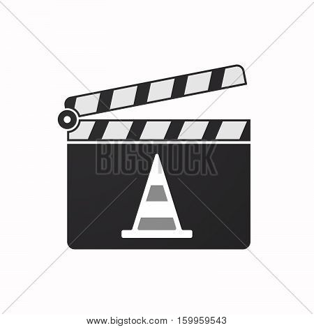 Isolated Clapper Board With A Road Cone