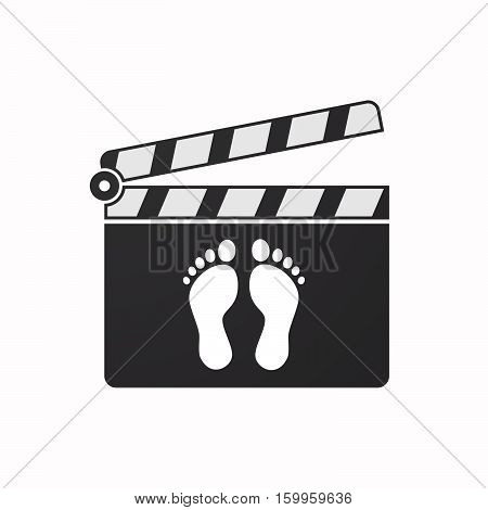 Isolated Clapper Board With Two Footprints