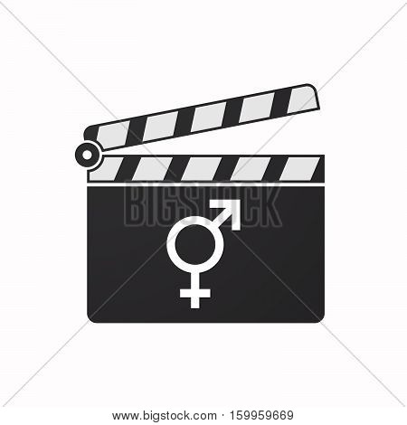 Isolated Clapper Board With A Bigender Symbol