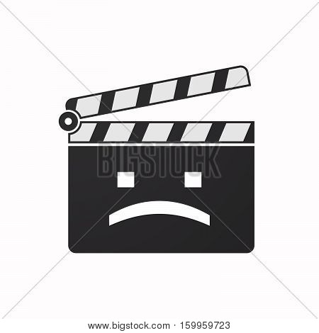 Isolated Clapper Board With A Sad Text Face