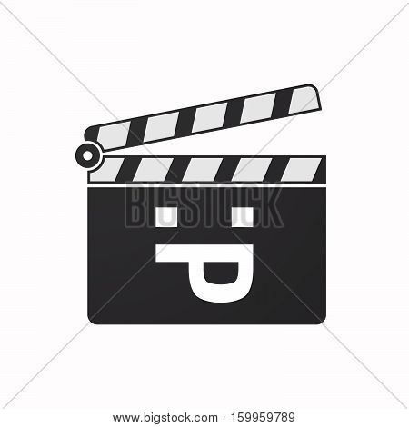 Isolated Clapper Board With A Sticking Out Tongue Text Face