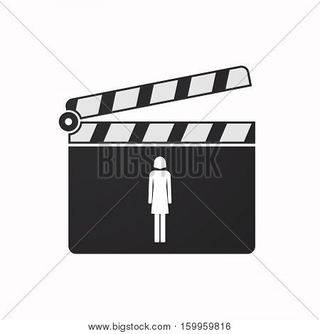 Isolated Clapper Board With A Female Pictogram