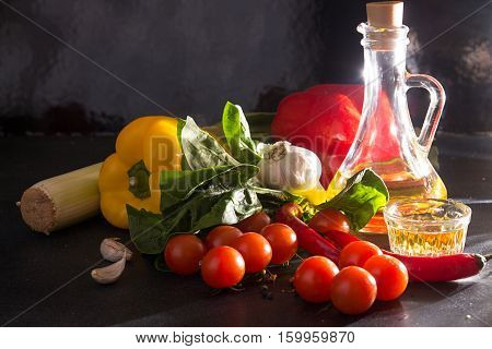 Composition Of Fresh Ripe Homegrown Vegetables. Organic Healthy Food Concept.