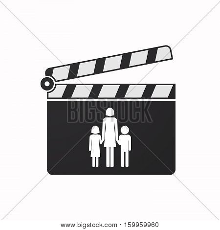 Isolated Clapper Board With A Female Single Parent Family Pictogram