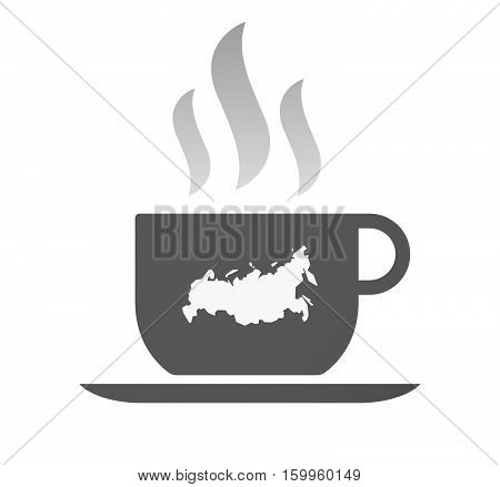 Isolated Coffee Cup With  A Map Of Russia