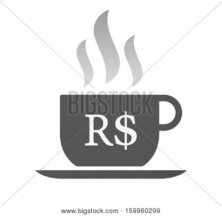 Isolated Coffee Cup With A Brazillian Real Currency Sign
