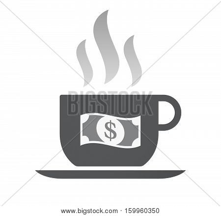 Isolated Coffee Cup With A Dollar Bank Note