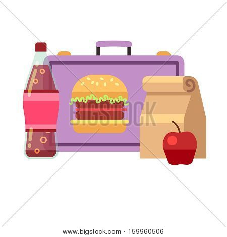 Healthy school lunch, student breakfast, school lunch box vector stock. Lunch for school, lunchbox sandwich drink and apple illustration
