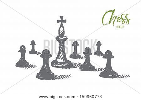 Vector hand drawn chess concept sketch. Chess king between many pawns on chessboard. Lettering Chess concept