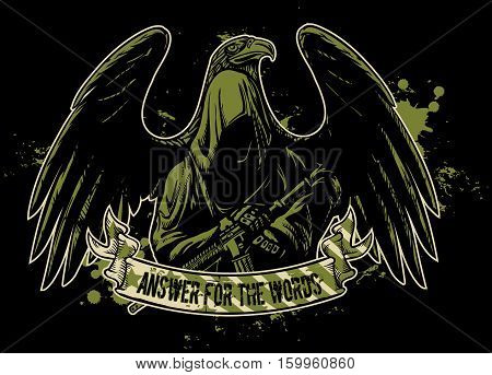 grim reaper with a weapon against a background of an eagle and a ribbon with the inscription