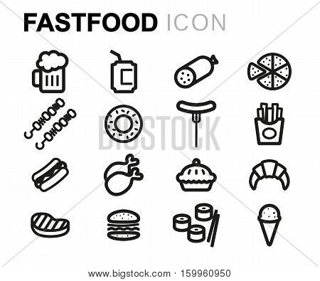 Vector line fastfood icons set on white background