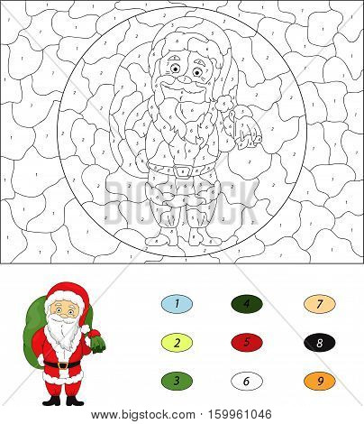 Christmas Santa (st Nicolas). Color By Number Educational Game For Kids