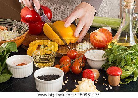 Preparing Salad Of Fresh Ripe Homegrown Vegetables. Ingredients For Preparing Salad.