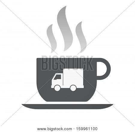 Isolated Coffee Cup With A  Delivery Truck