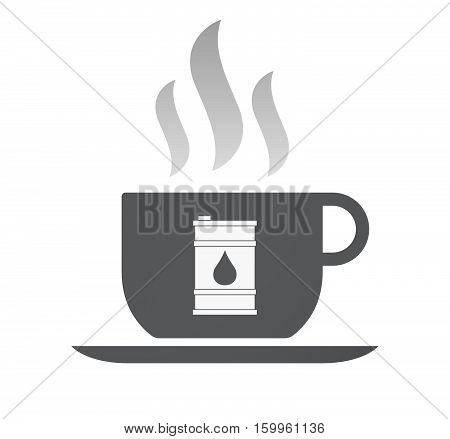 Isolated Coffee Cup With A Barrel Of Oil