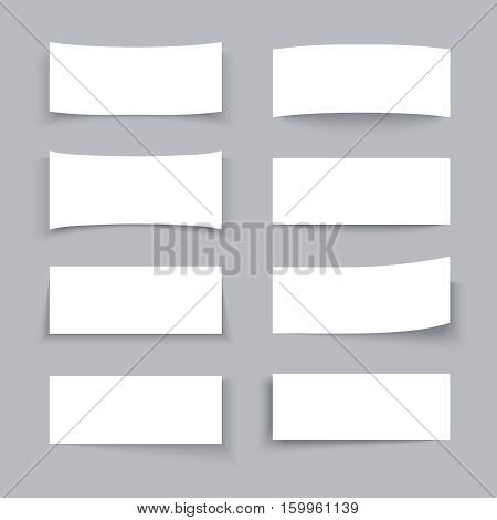 Empty white paper business banners with different shadow effects vector set. Paper empty poster, mock up of paper card illustration