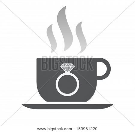 Isolated Coffee Cup With An Engagement Ring