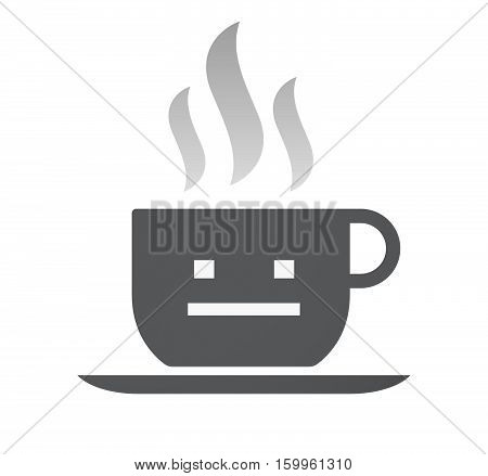 Isolated Coffee Cup With A Emotionless Text Face