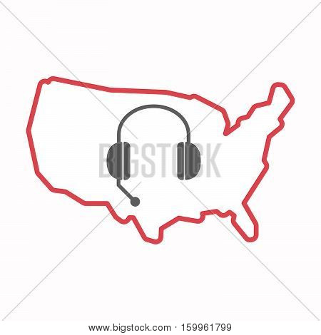 Isolated Map Of Usa With  A Hands Free Phone Device