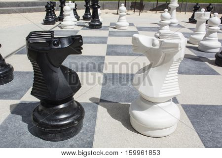 Two knights on the street chessboard with chessmen as backgound