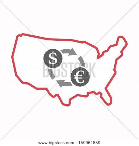 Isolated Map Of Usa With A Dollar Euro Exchange Sign