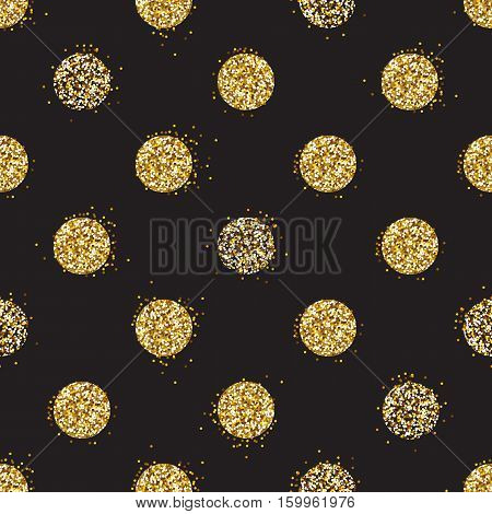 Black and gold background with shiny glitter dots decoration. Seamless pattern. Great for christmas and birthday cards, celebration posters, wedding invitations. EPS10 vector illustration.