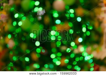 Abstract Bokeh Background Of Christmas Tree