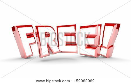 Free No Cost Complimentary Bonus Word 3d Illustration
