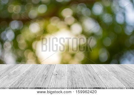 Abstract Bokeh Nature With Wood Terrace