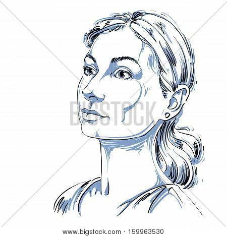 Monochrome Vector Hand-drawn Image, Romantic Young Woman. Black And White Illustration Of Contemplat