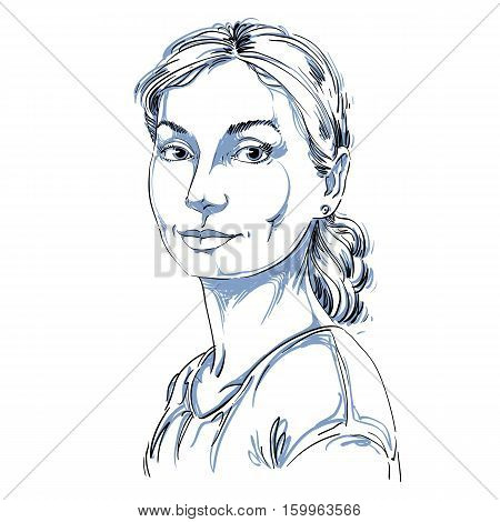 Vector Portrait Of Attractive Dreamy Woman, Illustration Of Peaceful And Calm Girl. Person Emotional