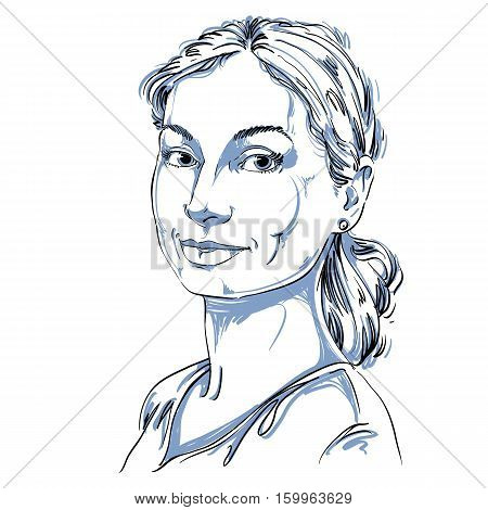 Portrait Of Delicate Good-looking Still Woman, Black And White Vector Drawing Of Peaceful And Tender