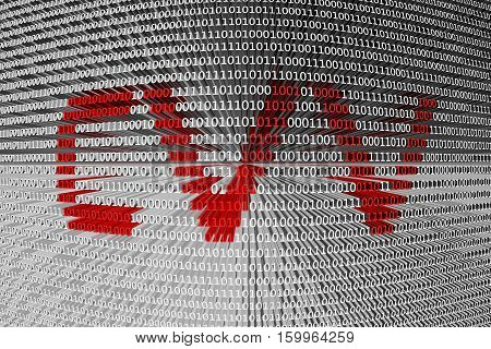 CVV in the form of binary code, 3D illustration