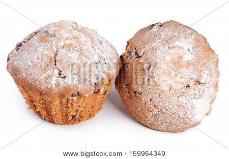 Fruitcake With Raisin Isolated On White