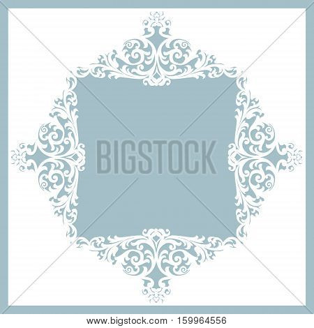 white frame with floral pattern on a gray background. laser cutting template