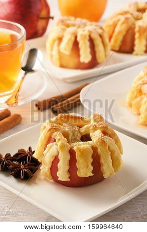 Dessert - apples baked in puff pastry. Apples filled with honey, ginger and cinnamon.