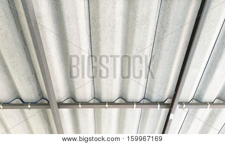 Structural steel roof and roof tiles in countryside