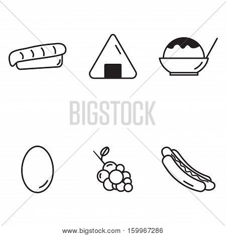 sashimi onigiri shaved ice egg grape hotdog set collection outline icons vector with white Background
