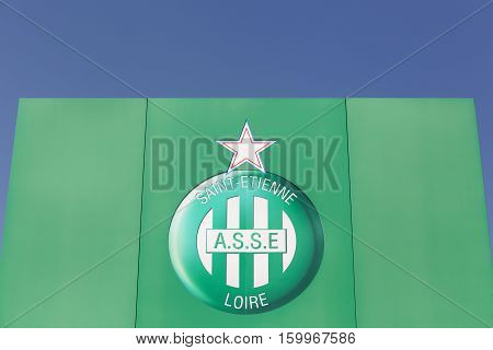 Saint Etienne, France - August 17, 2016: Logo of Saint Etienne football team on a wall. AS Saint Etienne commonly known as ASSE is a French association football club based in Saint Etienne, France