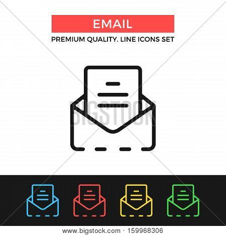 Vector email icon. E-mail, mail concepts. Premium quality graphic design. Modern signs, outline symbols collection, simple thin line icons set for websites, web design, mobile app, infographics