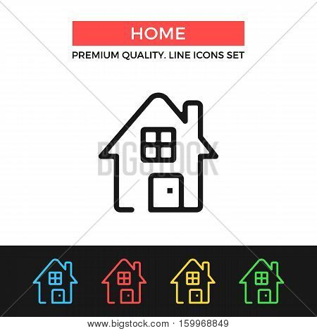 Vector home icon. House, home page concepts. Premium quality graphic design. Modern signs, outline symbols collection, simple thin line icons set for websites, web design, mobile app, infographics