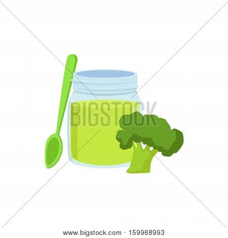Fresh Broccoli Juice Supplemental Baby Food Products Allowed For First Complementary Feeding Of Small Child Cartoon Illustration. Colorful Flat Vector Drawing With Meal Allowed For Toddler Proper Diet.